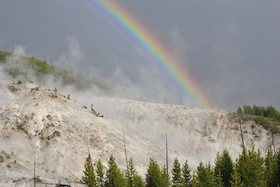 Geothermal activity with rainbow